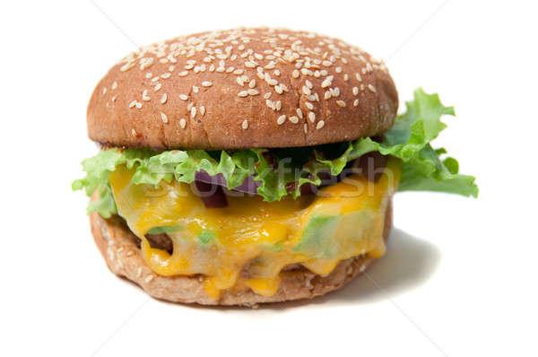 ハンバーガー チーズ 健康 大豆 孤立した ストックフォト © aspenrock