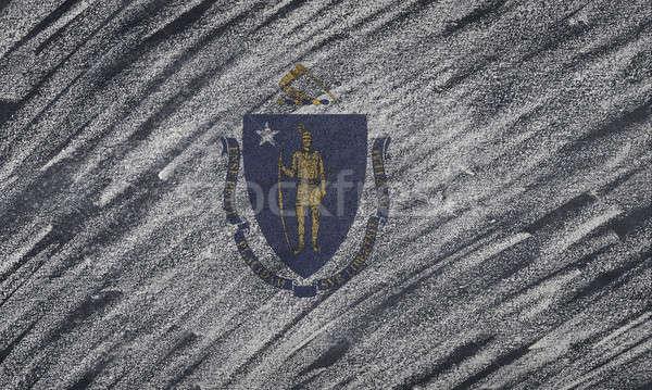 Massachusetts zászló festett színes kréta iskolatábla Stock fotó © asturianu