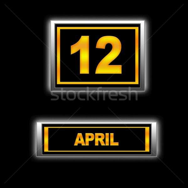 12 иллюстрация календаря образование черный повестки Сток-фото © asturianu