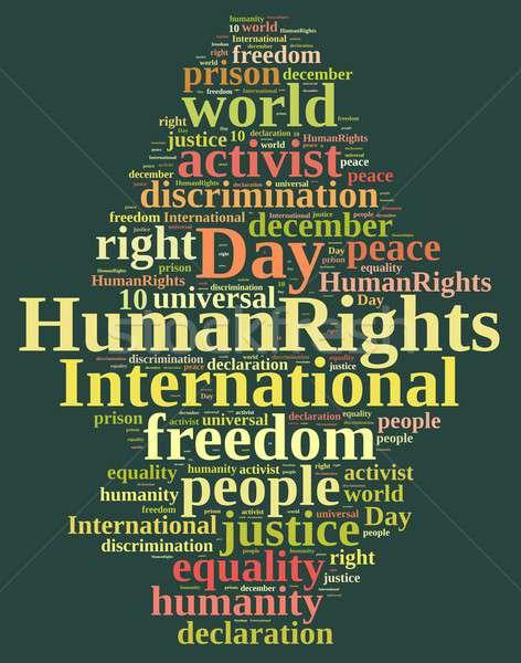 Uluslararası insan hakları gün kelime bulutu örnek özgürlük Stok fotoğraf © asturianu