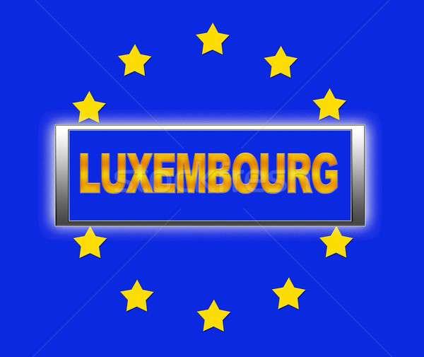Luxemburg woord vlag Europa teken Blauw Stockfoto © asturianu