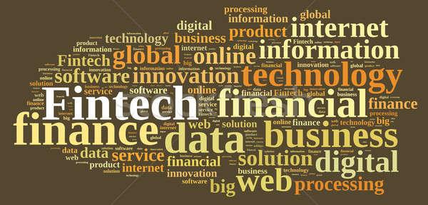 Foto stock: Ilustração · palavra · nuvem · da · palavra · financiar · tecnologia · abstrato