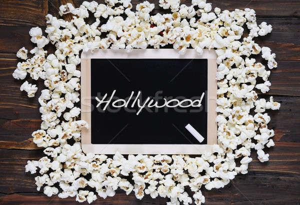 Patlamış mısır kelime hollywood tahta arka plan film Stok fotoğraf © asturianu