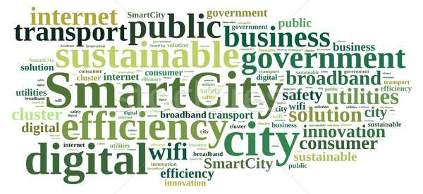 Foto d'archivio: Smart · città · illustrazione · word · cloud · business · verde
