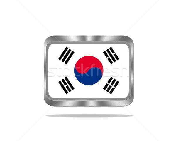 Metal Güney Kore bayrak örnek beyaz imzalamak Stok fotoğraf © asturianu