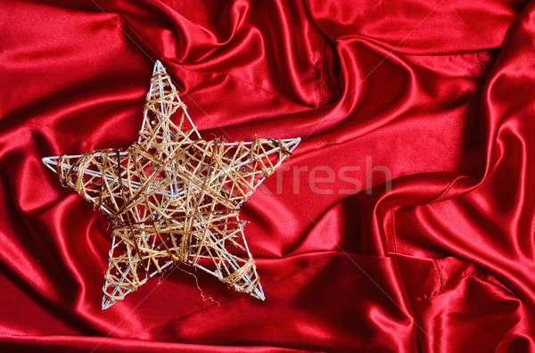 рождественская елка звездой красный атласных металл Рождества Сток-фото © asturianu