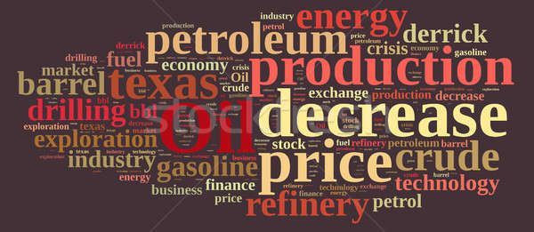 Stock photo: Word cloud on the price of oil.