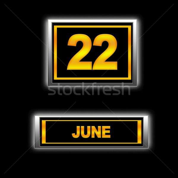 22 illusztráció naptár oktatás fekete terv Stock fotó © asturianu