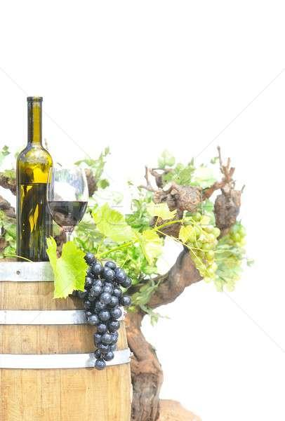 Yalıtılmış üzüm şarap şişesi gün batımı doğa meyve Stok fotoğraf © asturianu