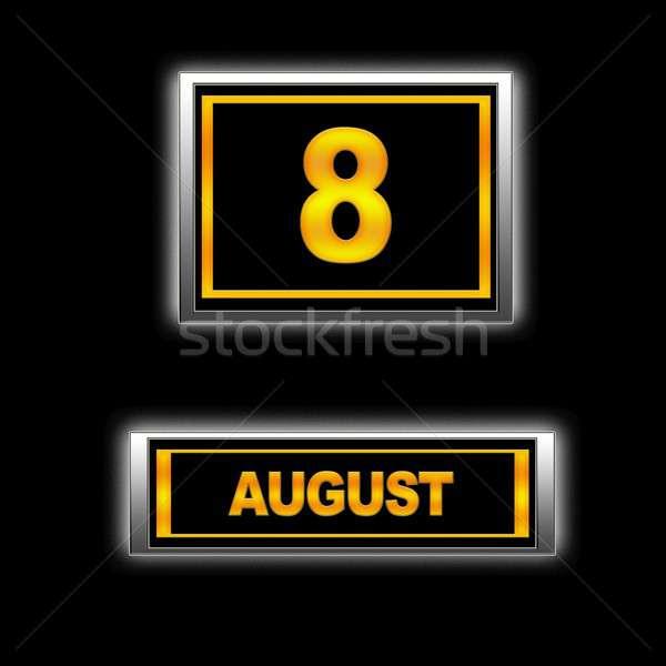 Agosto illustrazione calendario istruzione nero agenda Foto d'archivio © asturianu