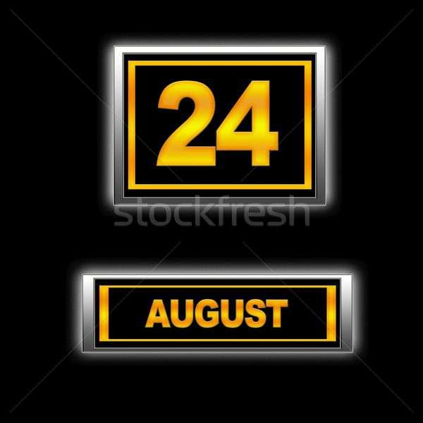 Augusztus 24 illusztráció naptár oktatás fekete Stock fotó © asturianu