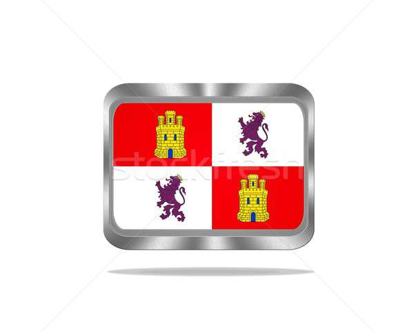 Metal Castilla y Leon flag. Stock photo © asturianu