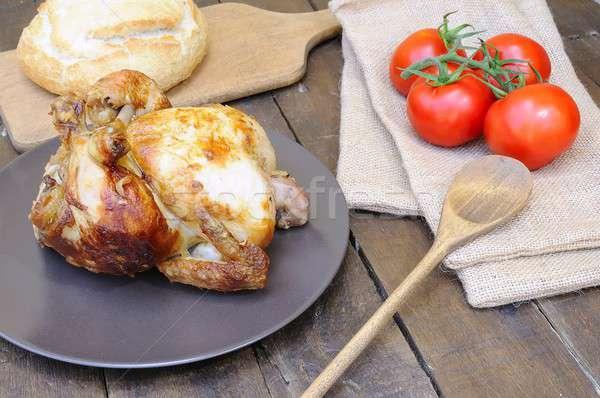Frango assado tabela cozinha frango grelha prato Foto stock © asturianu