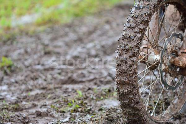 Motocross lastik çamur kirli tekerlek Stok fotoğraf © asturianu