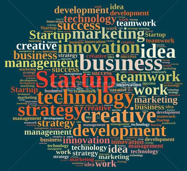 Stockfoto: Woordwolk · woord · startup · illustratie · werk · financieren
