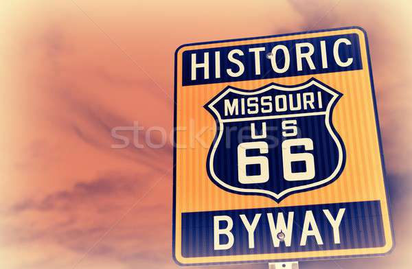 Stock photo: Historic route 66 highway sign in Missouri USA