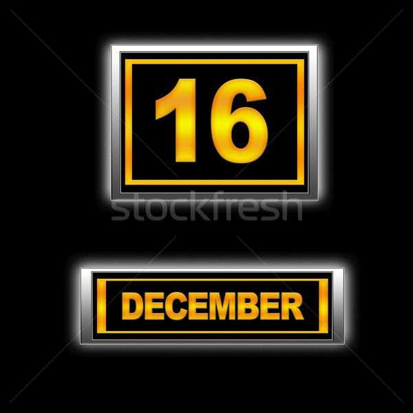 Décembre 16 illustration calendrier éducation noir Photo stock © asturianu