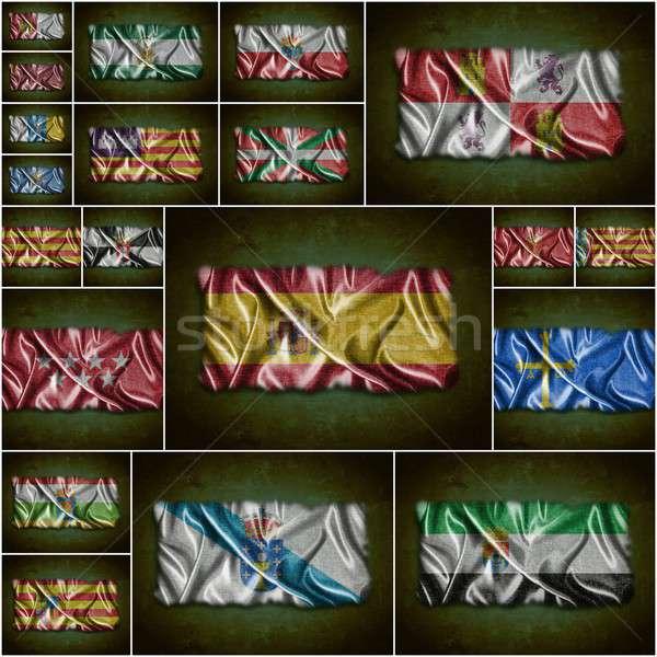 Vlaggen Spanje illustratie zijde textuur ontwerp Stockfoto © asturianu
