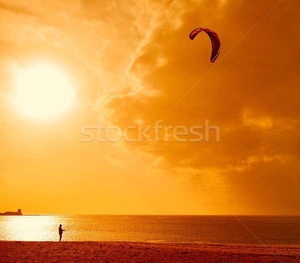 Güneş ışığı arkadan görünüm tanınmaz su deniz genç Stok fotoğraf © asturianu