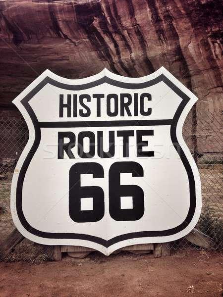 Stockfoto: Route · 66 · teken · historisch · oude · weg · moeder