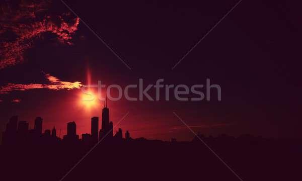シカゴ スカイライン 日没 シルエット 夕暮れ 米国 ストックフォト © asturianu