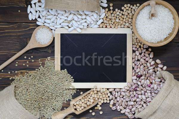 Bakliyat ahşap masa mutfak arka plan pirinç sağlıklı Stok fotoğraf © asturianu