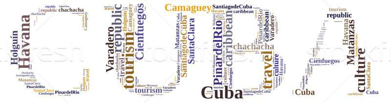 Куба туризма слово облако острове бизнеса фон Сток-фото © asturianu