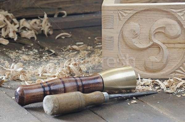 Stockfoto: Ingericht · houten · vak · beitel · hamer · mooie