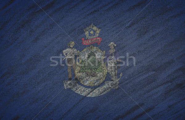 Maine zászló festett színes kréta iskolatábla Stock fotó © asturianu