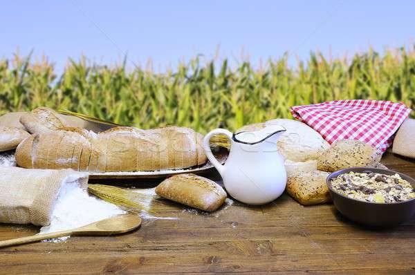 Piekarni składniki tabeli chleba pszenicy nasion Zdjęcia stock © asturianu
