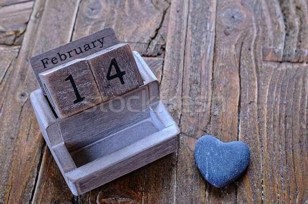 14 kalender datum houten tafel tijd vakantie Stockfoto © asturianu