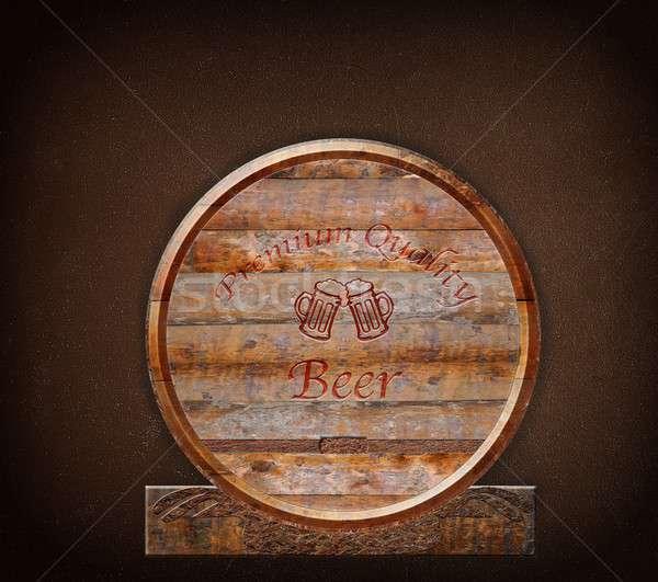 Stockfoto: Vat · bier · premie · kwaliteit · muur · hout