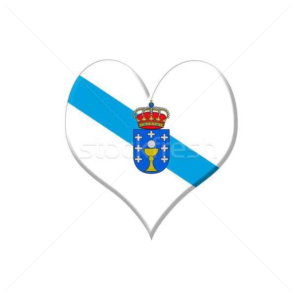 Galicië hart illustratie witte liefde achtergrond Stockfoto © asturianu