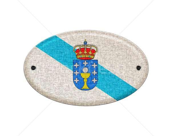 Houten galicië vlag illustratie witte ontwerp Stockfoto © asturianu