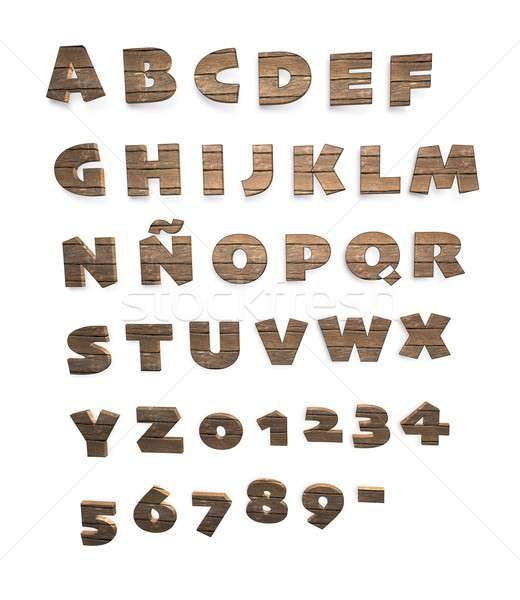 Wooden alphabet and numerals Stock photo © asturianu