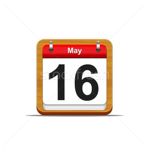 16 illusztráció elegáns fából készült naptár fehér Stock fotó © asturianu