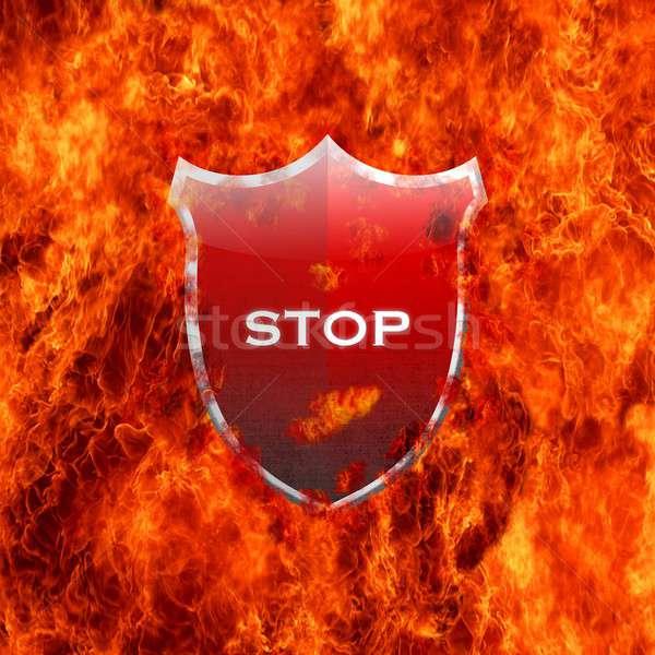 Stop shield. Stock photo © asturianu