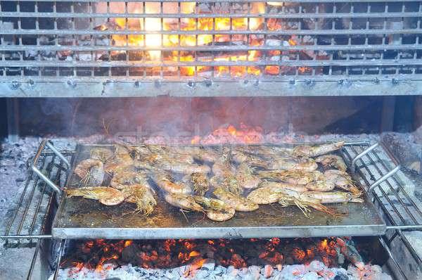 Grillezett király garnélák finom étterem tigris Stock fotó © asturianu