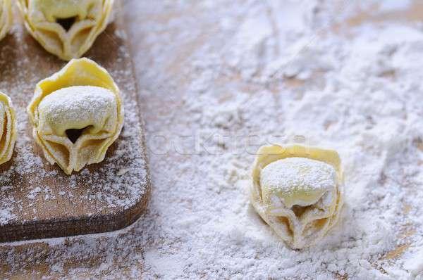 Házi készítésű tortellini fa asztal konyha étel háttér Stock fotó © asturianu