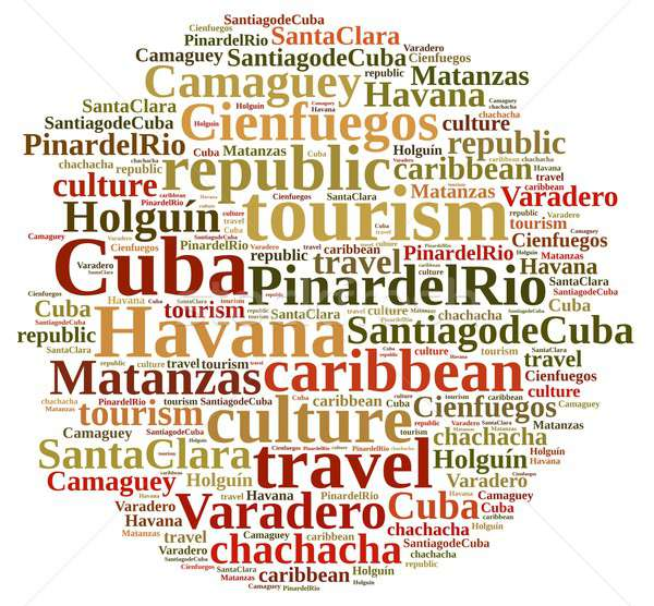 Cuba turismo nube de palabras isla negocios naturaleza Foto stock © asturianu
