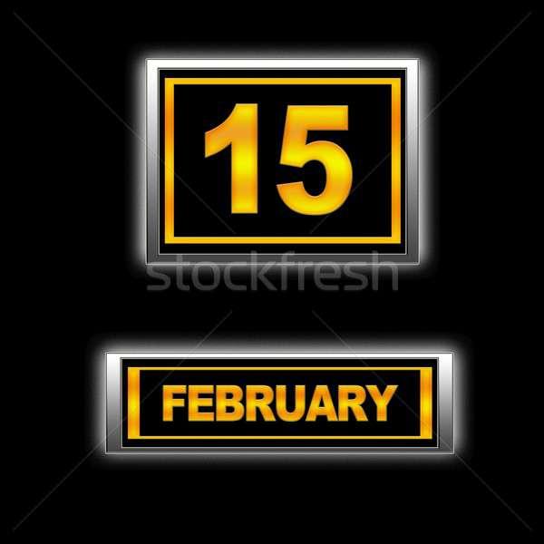 15 illustratie kalender onderwijs zwarte agenda Stockfoto © asturianu