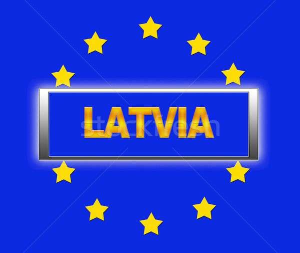 Letland woord vlag Europa teken Blauw Stockfoto © asturianu