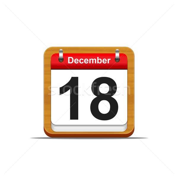 December 18 illusztráció elegáns fából készült naptár Stock fotó © asturianu