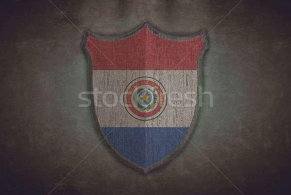 Pajzs Paraguay zászló illusztráció öreg háttér Stock fotó © asturianu