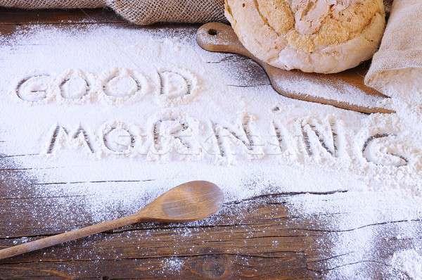 Bonjour farine table boulangerie expression nature Photo stock © asturianu