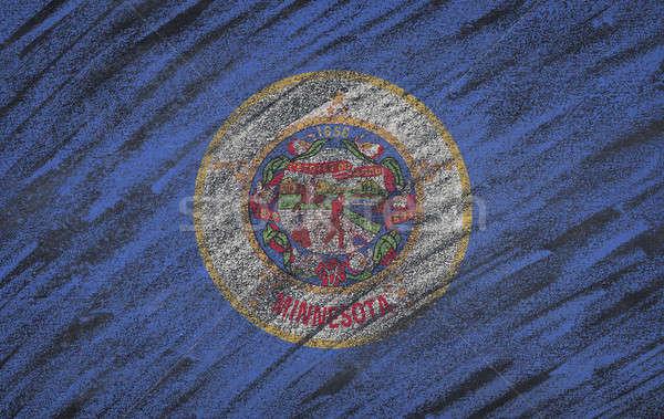 Миннесота флаг окрашенный мелом доске Сток-фото © asturianu