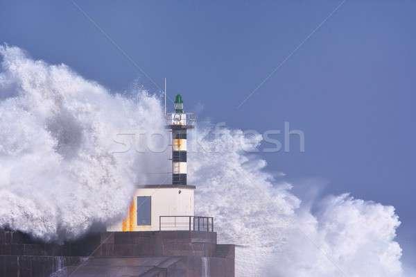 Orageux vague phare pier nature mer Photo stock © asturianu