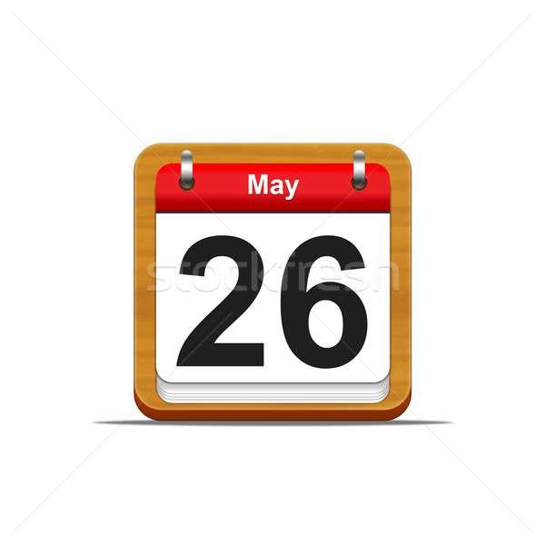 26 illusztráció elegáns fából készült naptár fehér Stock fotó © asturianu