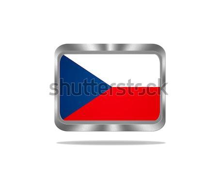 Metal república tcheco bandeira ilustração branco Foto stock © asturianu