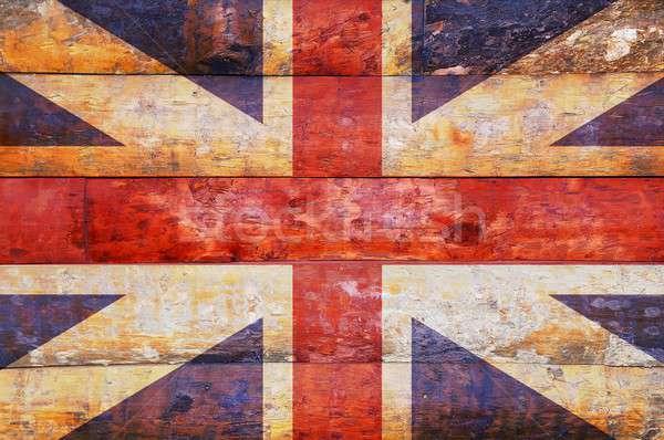 Fából készült zászló Egyesült Királyság illusztráció Stock fotó © asturianu